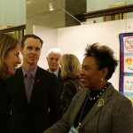 Congresswoman Barbara Lee chats with Alicia and Douglas Griffiths