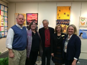 From Left: Dick and Allison Wilbur, Quilt for Change; Iain Guest, Director of The Advocacy Project; NEQM Executive Director Nora Burchfield; and NEQM Exhibits Curator Pam Weeks