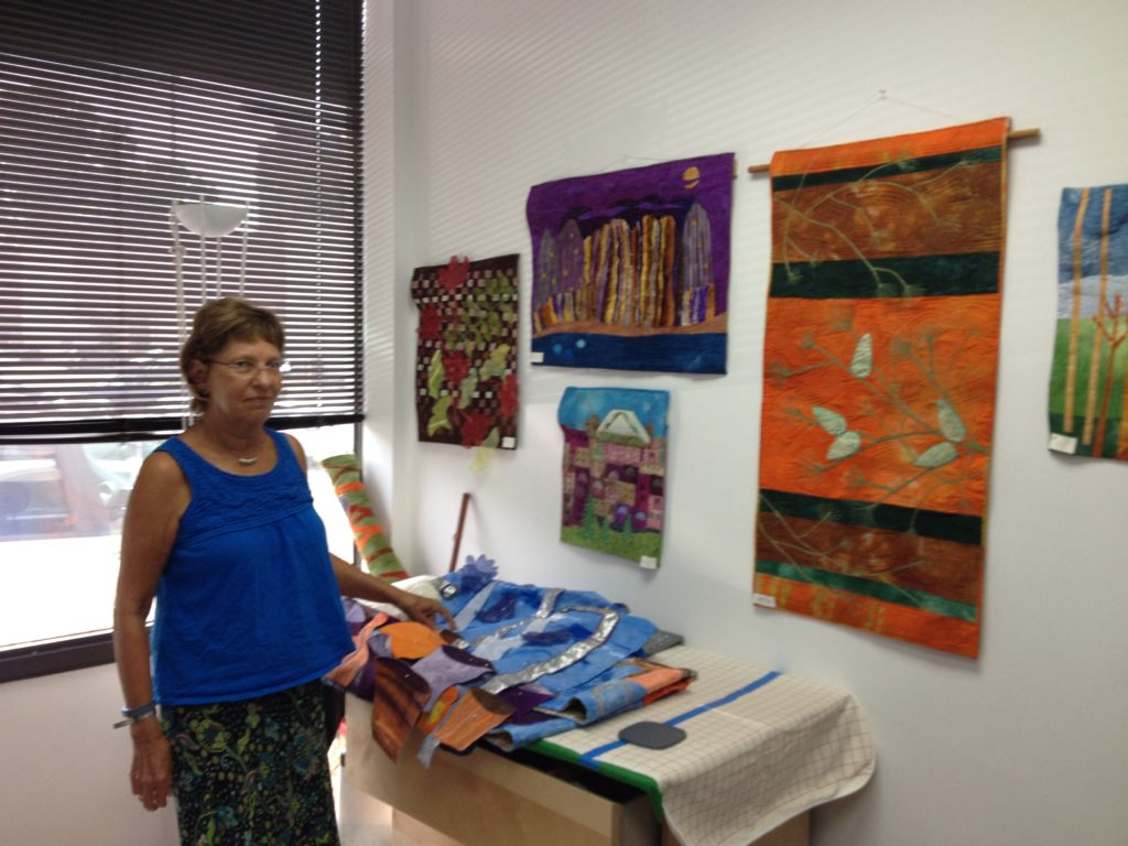 Artist Barbara Eisenstein in her studio in Bethesda, Maryland