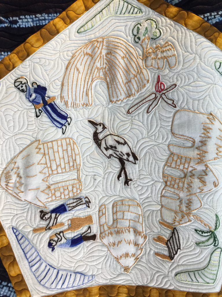 Mchine Quilting on embroidered block from Mali